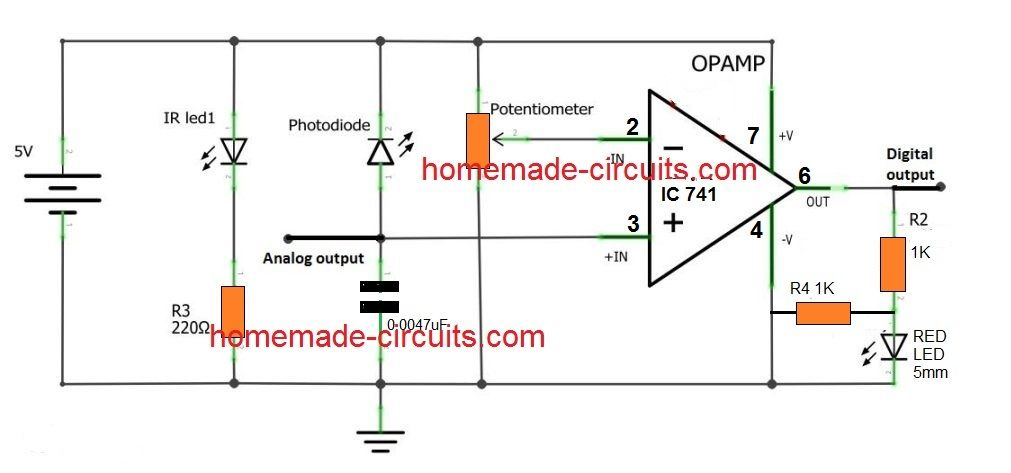 Simple Proximity Sensor Using A Single Lm 741 Electronic Schematics Circuit Projects Sensor