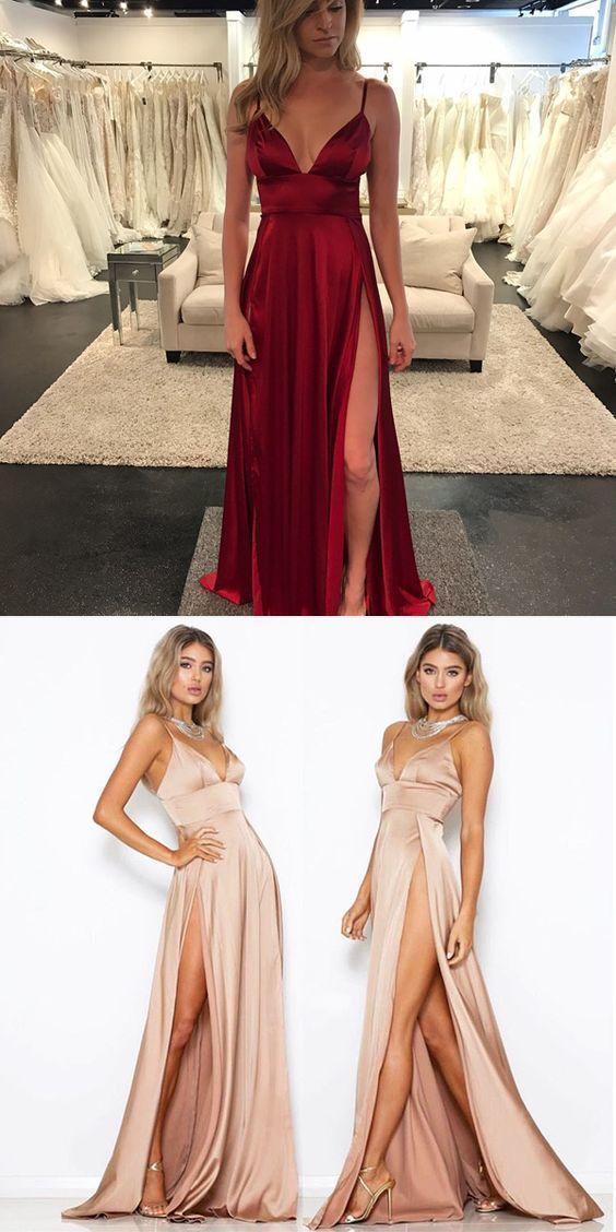A Line V Neck Silk Like Satin Sweep Train Split Front Prom Dresses Con Imagenes Vestidos De Fiesta Vestido De Fiesta Dorado Vestidos De Quinceanera Sencillos