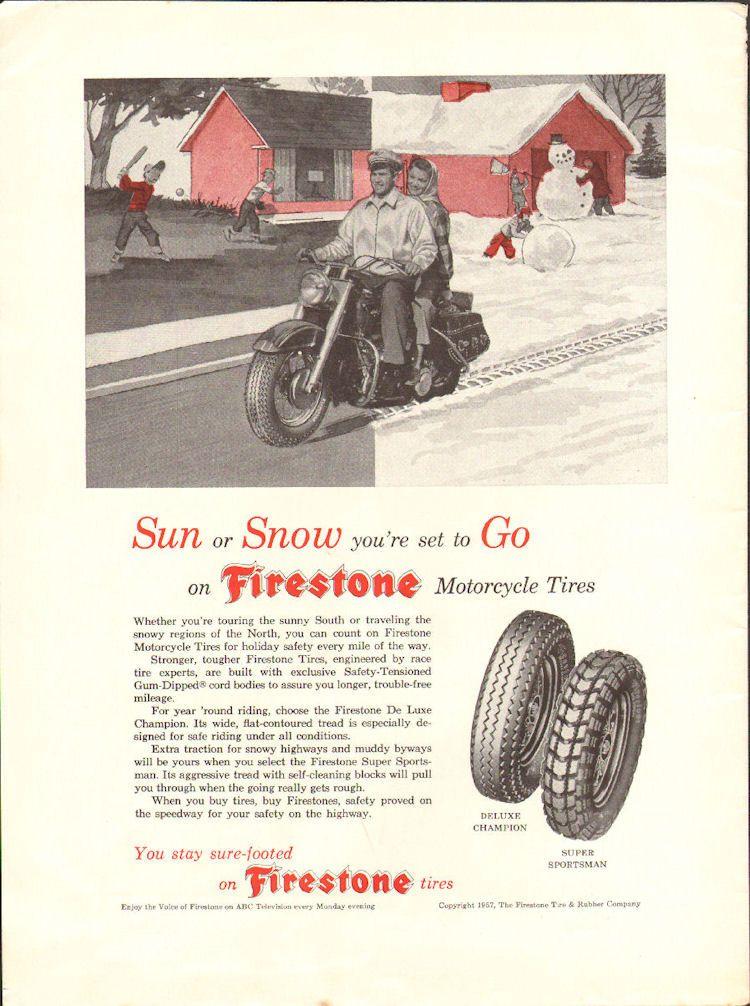 vintage motorcycles firestone motorcycle snow tires ad