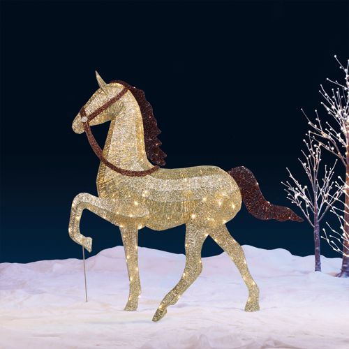 Outdoor Christmas Decorations Horse Carriage : Quot champagne glitter string horse with led lights