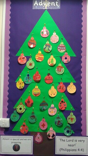 Advent promise display in my Year 3 classroom. On each bauble the children wrote an advent promise, we will turn one over each day in advent.