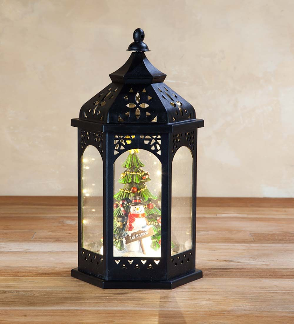 "Plow and Hearth Christmas tree//Snowman light up lantern 13/"" X 7/"""
