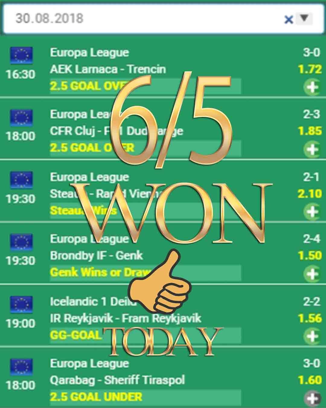 Vip iddaa tahminleri 6/5 WON sport betting, sports