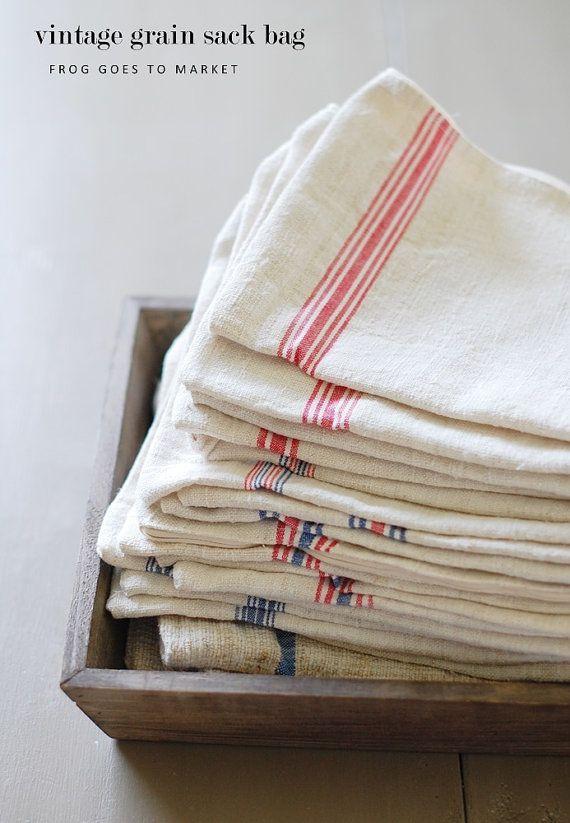 GRAIN SACK vetoketjullinen pussi - Vintage jyvän säkki laukku Ranskan Stripes - Sininen + Punainen Stripes