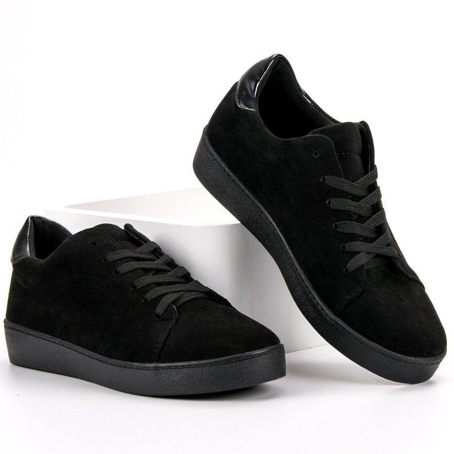 Lucky Shoes Zamszowe Obuwie Sportowe Czarne All Black Sneakers Shoes Sneakers