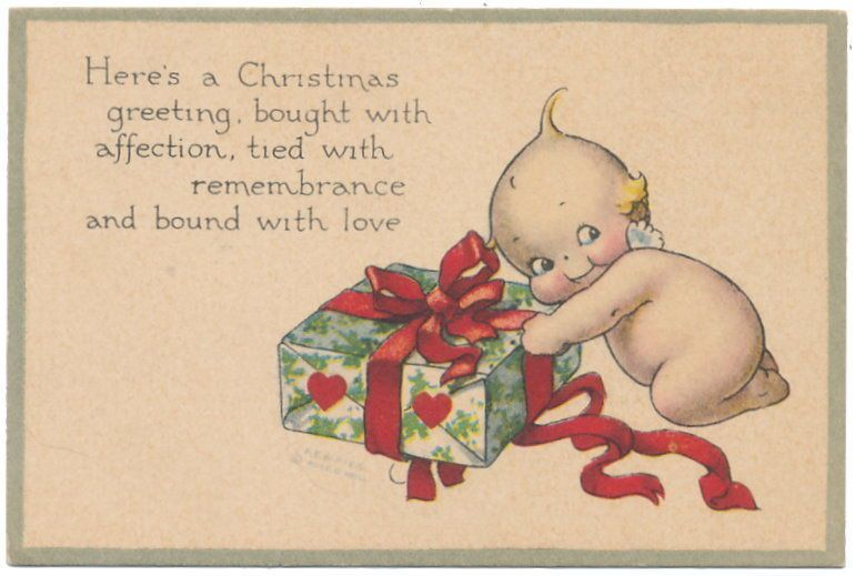 Small Rose O'Neill Christmas Card with Kewpie Wrapping Gift