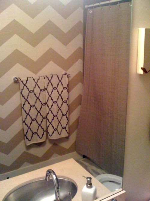 I Want To Redo My Bathroom In Gray And Yellow Chevron I Need This - Redo my bathroom