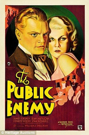 Classic movie posters that lay hidden in a Pennsylvania attic for 80 years expected to fetch $ 250,000 at auction - The Public Enemy poster, featuring screen icons James Cagney and Jean Harlow