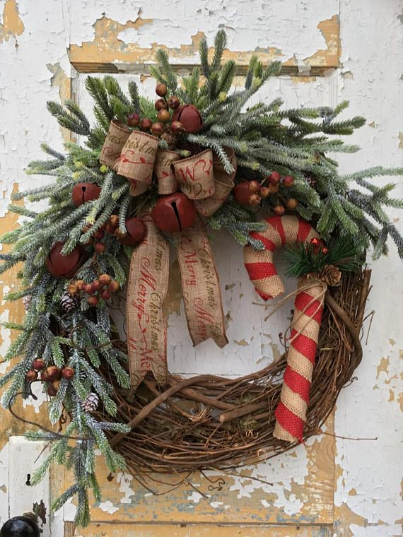 Primitive Christmas Wreath Rustic Christmas Wreath for ...