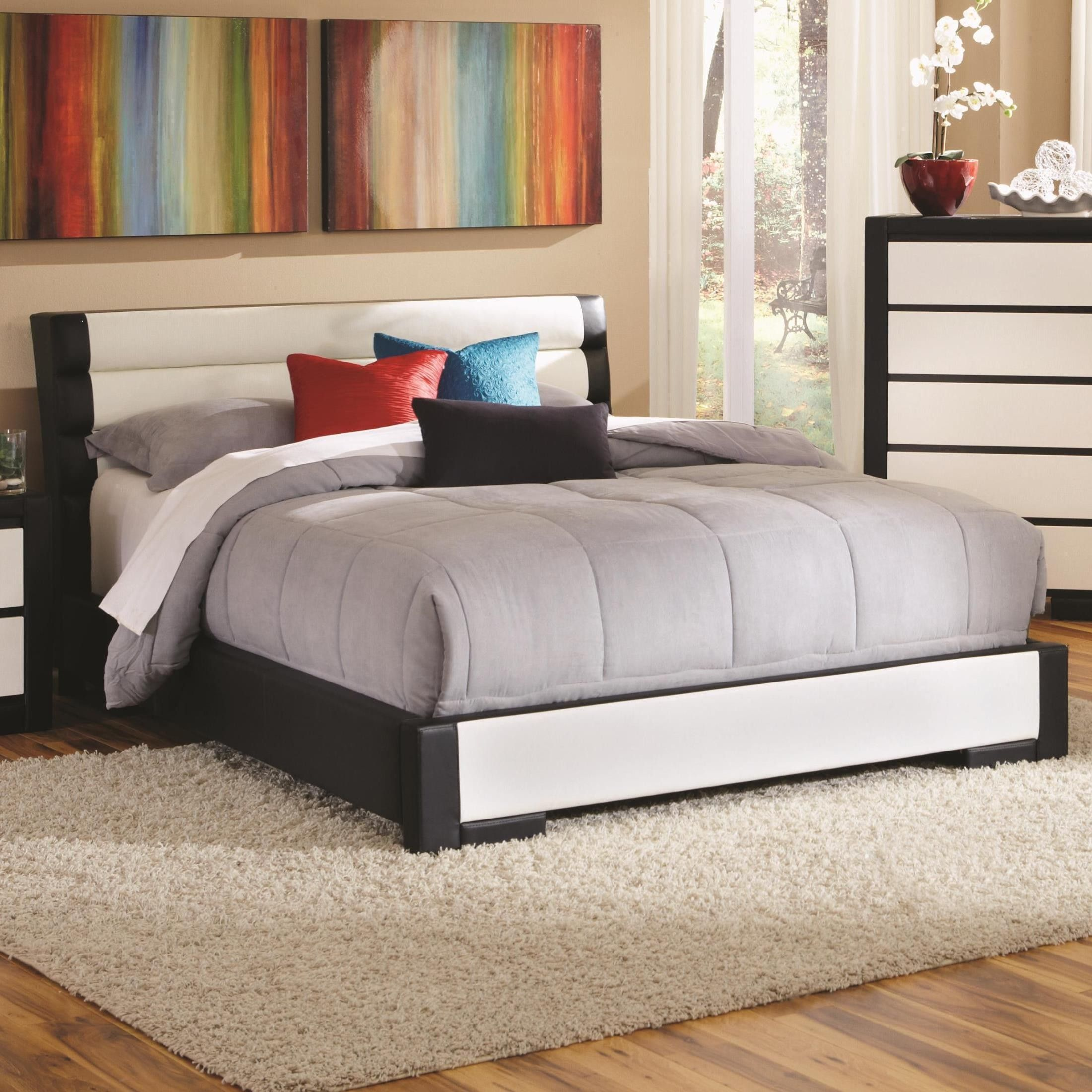 This Impressive Kimball Bedroom Set By Coaster Furniture Offers A New Look.  With Each Piece Upholstered In Black And White Man Made Leather, This Set  Puts A ...