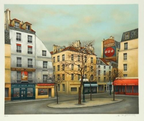 Lithographie Originale Signee Peintre Andre Renoux Paris Place La