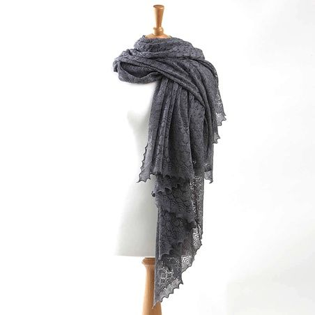 Exquisite Cashmere and Wool Lace Wrap -in grey