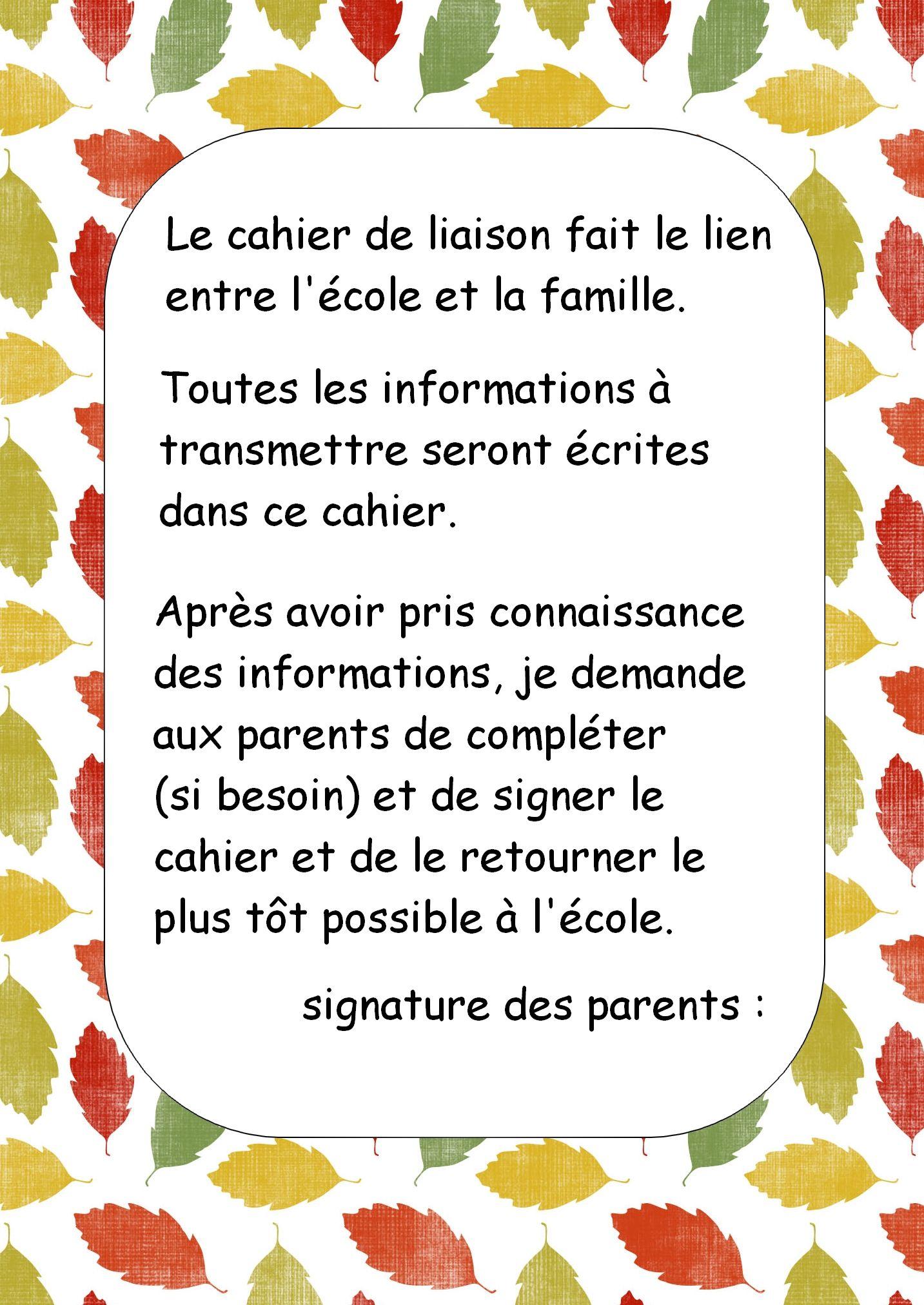 Cahier De Liaison Cahier De Vie Cahier De Liaison Cahier De Vie Maternelle Cahier De Vie