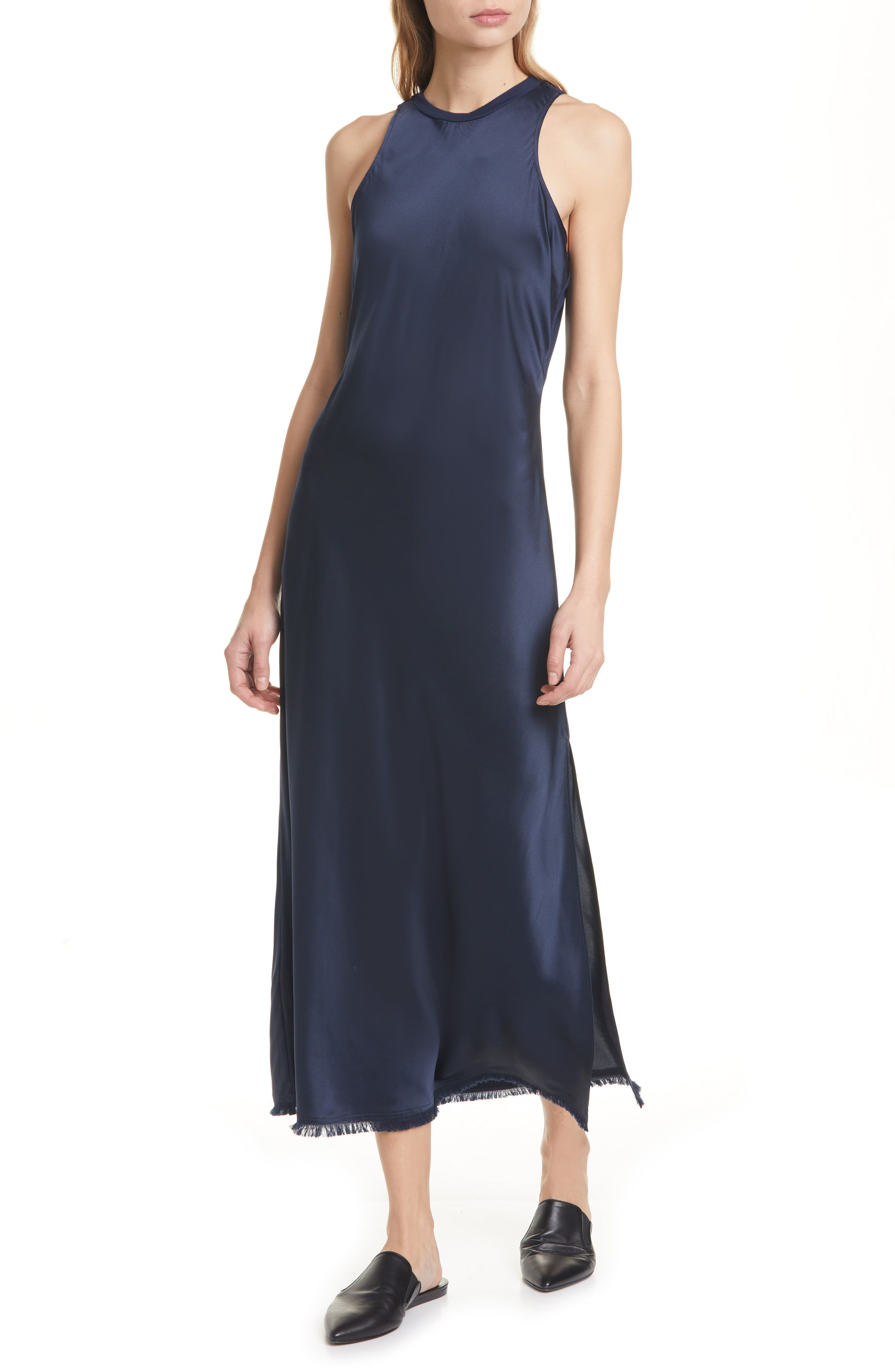 Cut from fluid silk satin that's washable for easy care, this tank dress with a softly fringed hem is cut on the bias for easy, elegant drape. Style Name:Frame Washable Bias Cut Silk Satin Dress. Style Number: 6055286. Available in stores.