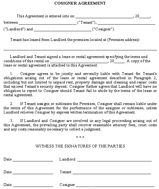 Co Signer Agreement Being A Landlord Landlord Tenant Lease