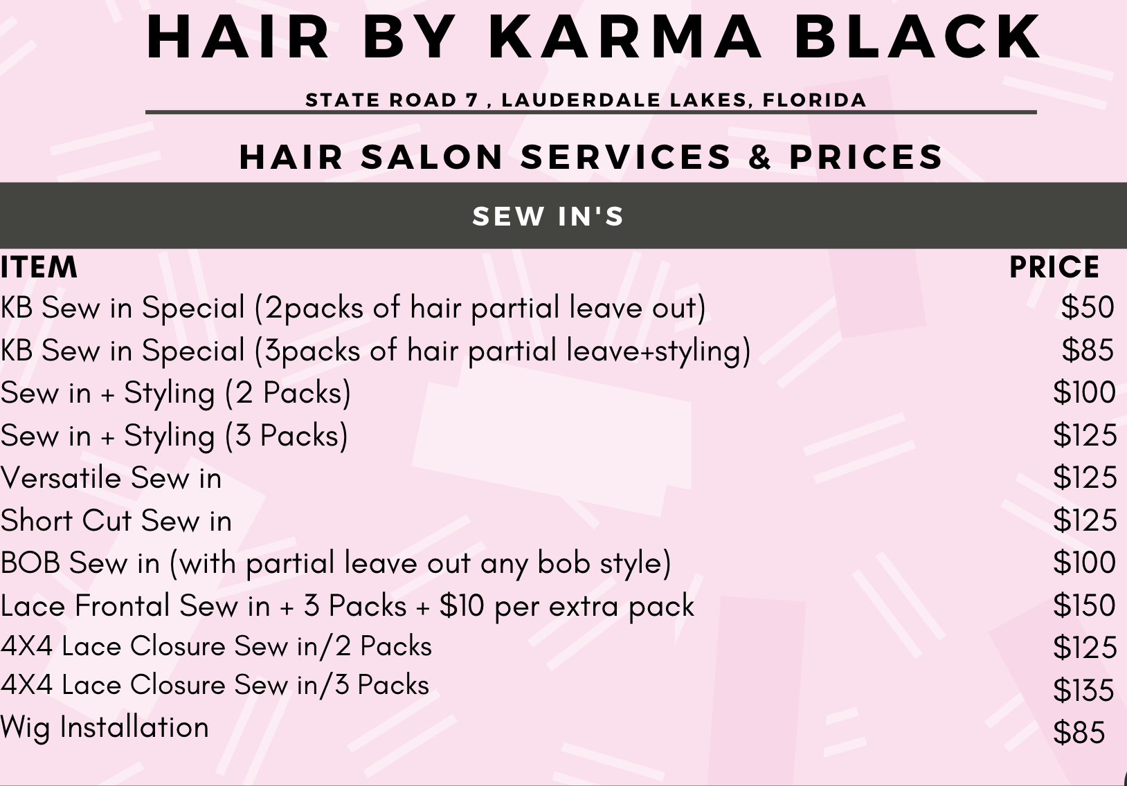 Black Hair Salon Sew In Fort Lauderdale Black Hair Salons Hair Salon Prices Hair Salon Price List