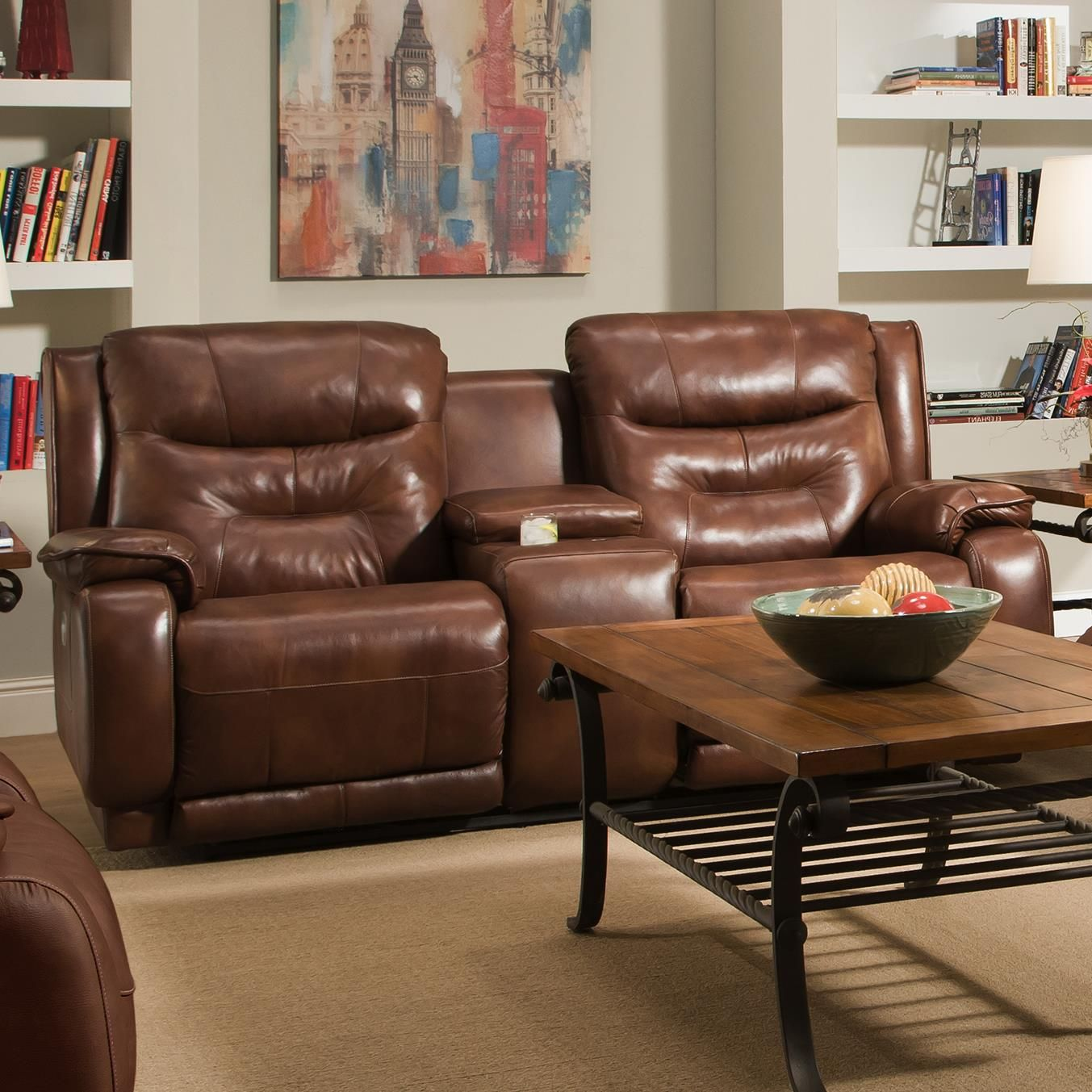 Crescent Reclining Console Soafa With Power Headrests By Belfort