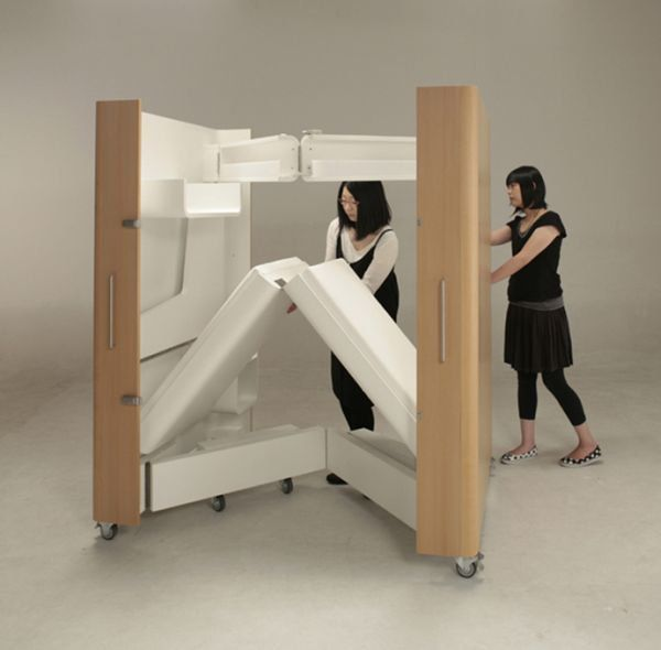 A Foldable Bedroom, Office And Kitchen Helps People Maximize Space.  Piratical Living with Kenchikukagu! in Japan of course, now you can live  comfortably ...
