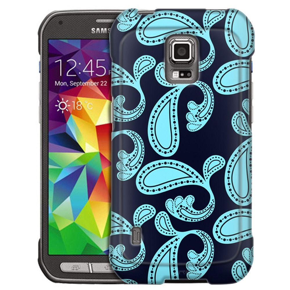 Samsung Galaxy S5 Active Paisley Turquoise on Navy Slim Case