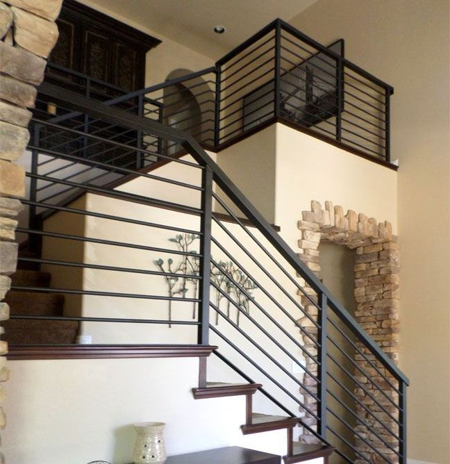 Horizontal Rod Iron Stair Railing In 2020 Stair Railing Design Modern Stair Railing Farmhouse Stairs