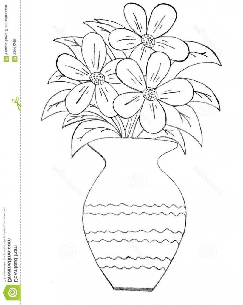 How To Draw A Beautiful Flower Vase Pictures For Kids To Draw Beautiful Flower Vase With Flowers Flower Vase Drawing Pencil Drawing Pictures Flower Sketches
