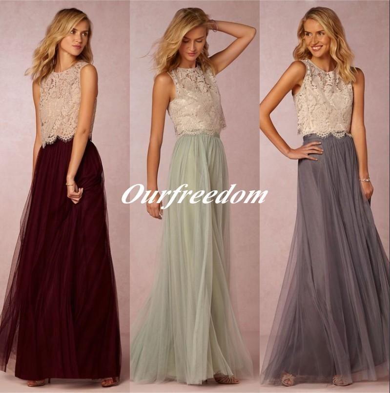 3e5f739db3 Two Pieces Bridesmaid Dresses Lace Bodice Tulle Skirt Burgundy Grey Mint  Sheer Crew Neck Full Length Elegant Prom Dresses Plus Size Bridesmaids  Dresses ...