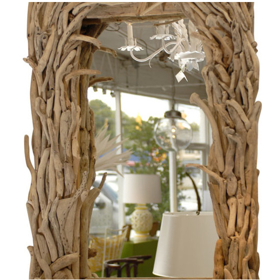 This wooden mirror  bring out a wild atmosphere in your home