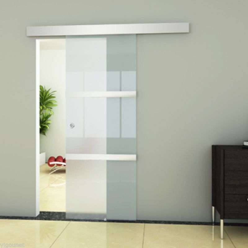 Attractive NEW Frameless Sliding Glass Door Frosted Panels Interior Top Hung Track Home