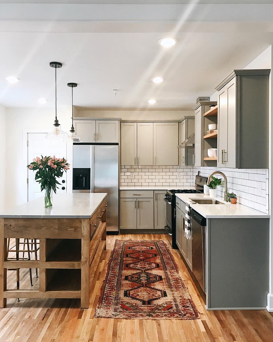 Fresh affordable kitchen with rich vintage rug live pinterest