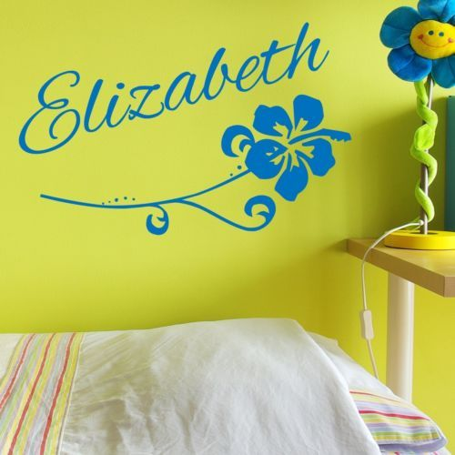 Custom Flower Name Vinyl Wall Decal Decor Girls Sticker Hawaiian - Custom vinyl wall decals flowers