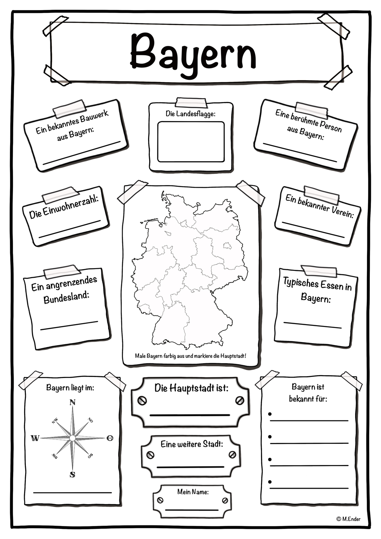 Steckbrief Bundesland Bayern Unterrichtsmaterial Im Fach Erdkunde In 2020 Erdkunde Bundesland Bayern Steckbrief