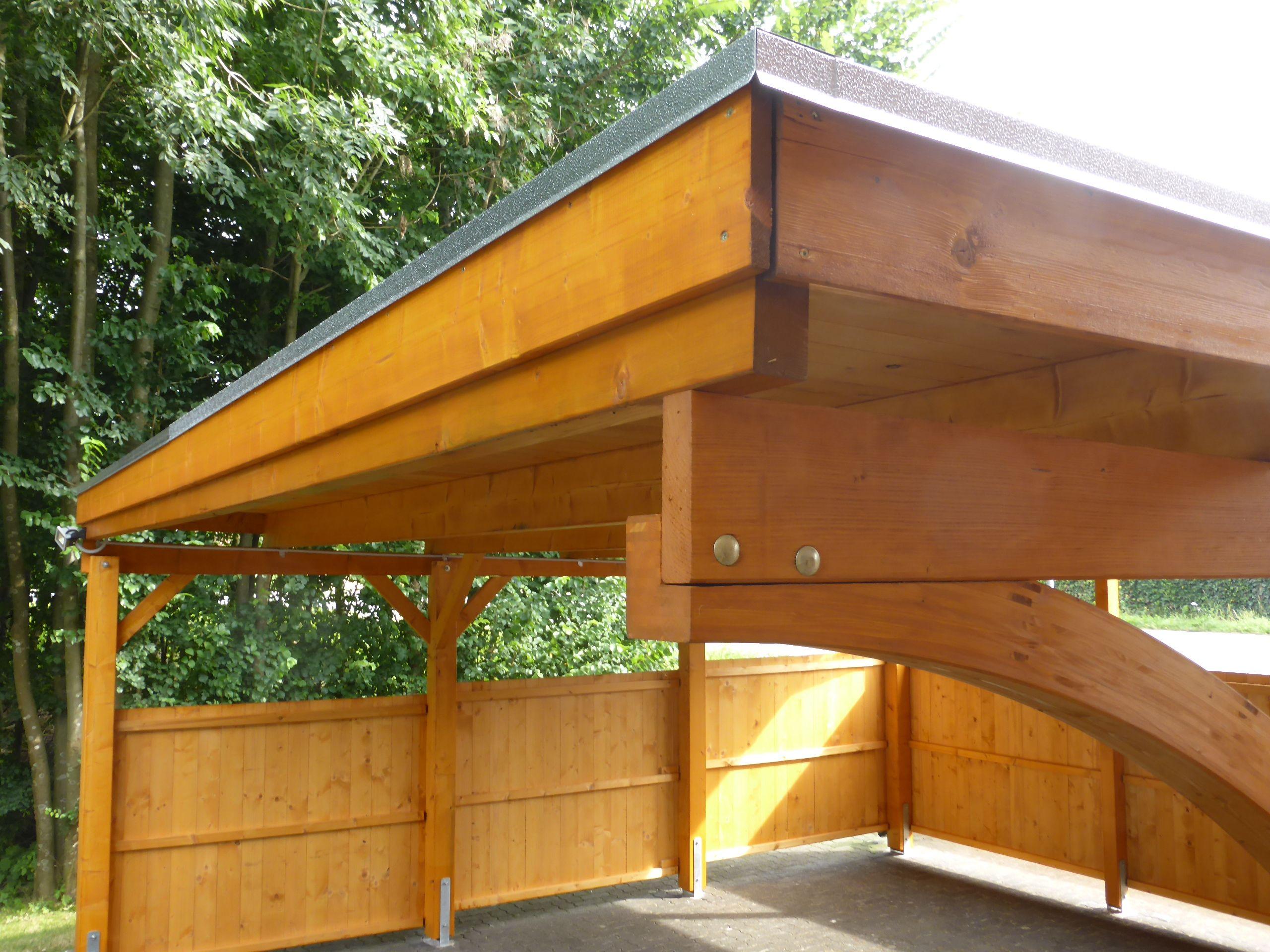 carport in fichte mit leimholzbogen holzblende abdeckleiste und holzdach mit. Black Bedroom Furniture Sets. Home Design Ideas