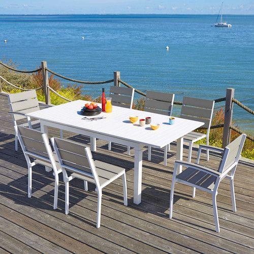 Table de jardin à rallonge en aluminium blanche L 160 à L 210 cm ...