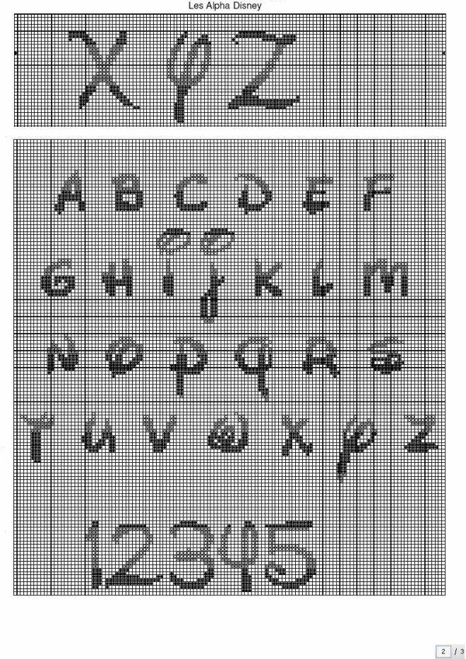 Image alphabet disney que j 39 ai utilis pour la serviette - Grille point de croix lettre ...