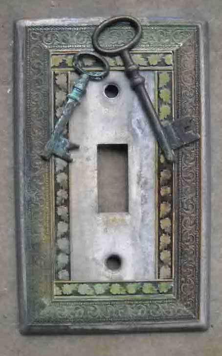 Hand Made VTG like Metal Patina Switch Plate Keys