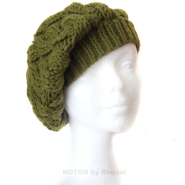 Cable Knit Slouchy Boho Beret in Olive Green 6f75d35307bd