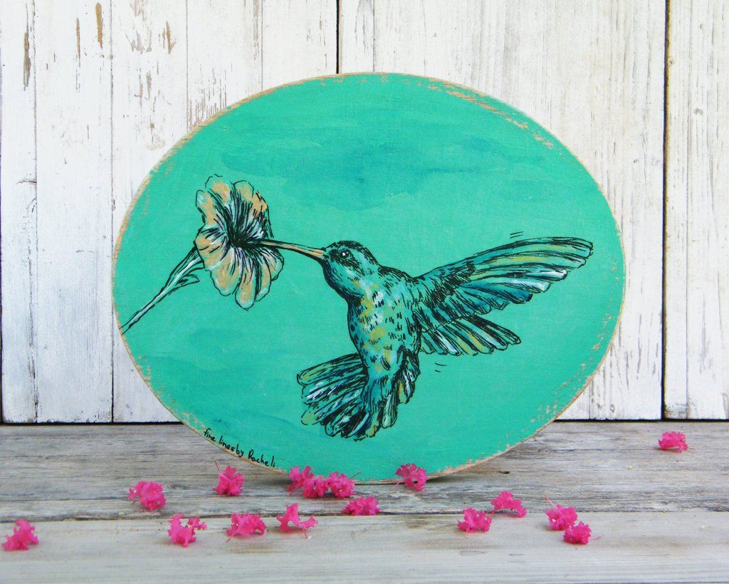 Hummingbird wall sign oval wall art hummingbird print bedroom