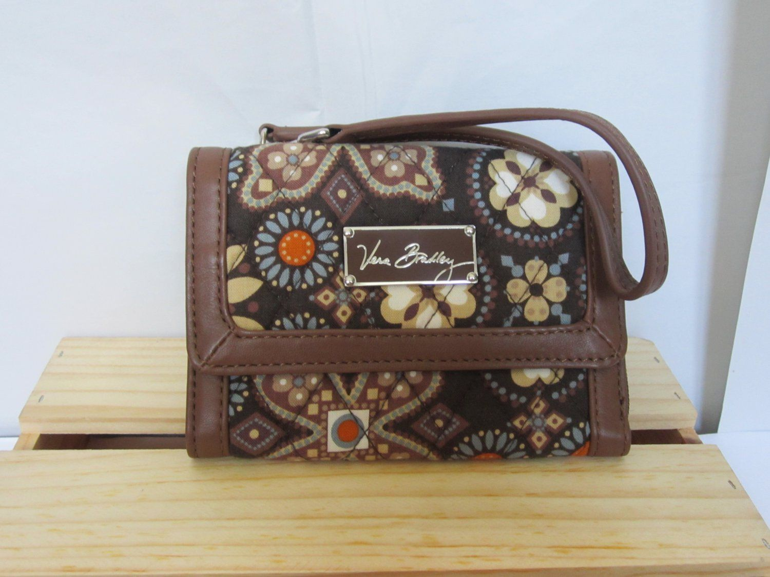 7a20853cbd86 Vera Bradley Anniversary Wristlet in Canyon brown pattern. ID coin zip-around  wallet iPhone tech case. Click visit site to see inside pics. nice design.
