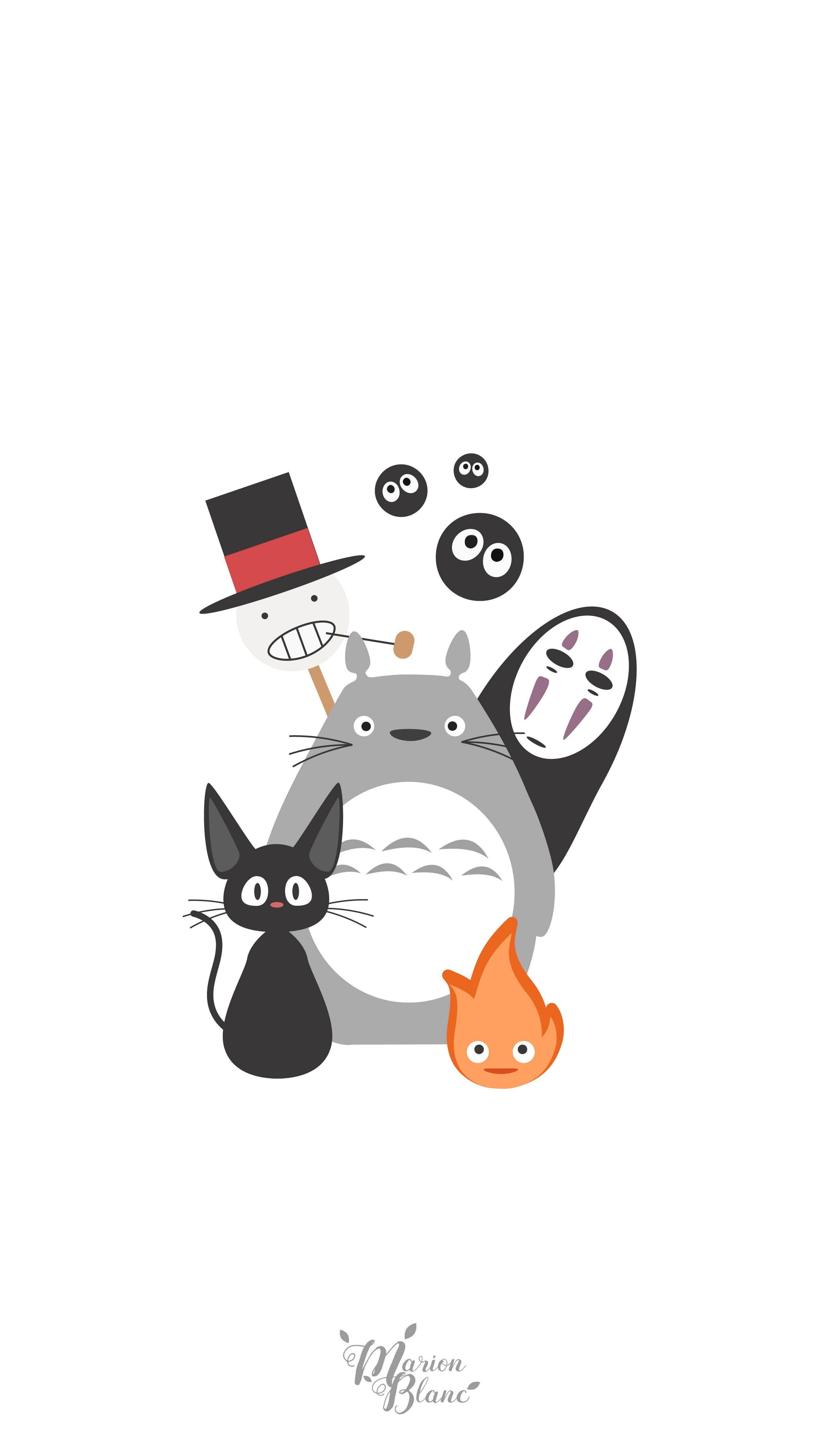 Wallpaper iphone totoro - Ghibli Marion Blanc