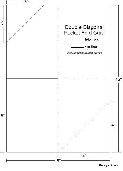 Diagonal Double Pocket Card with TUTORIAL TEMPLATES - Cards