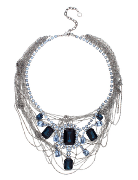 Tom Binns Fettered Faux Sapphire Necklace with Tangled Chains. Fall13 via TresChicNow.com