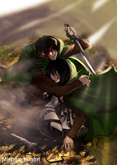Levi X Mikasa Tumblr Attack On Titan Levi Attack On Titan Fanart Rivamika