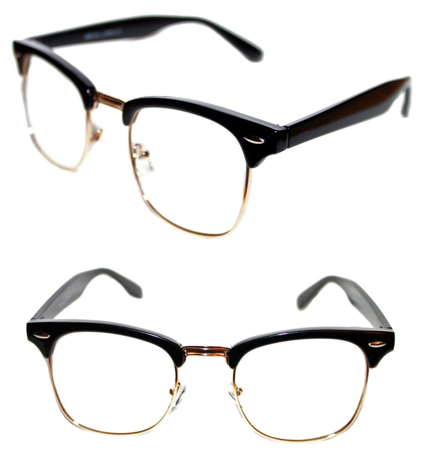 62b222f1a Men's Women's Black Gold Frame Half Shell Clubmaster Clear Lens Glasses Soho