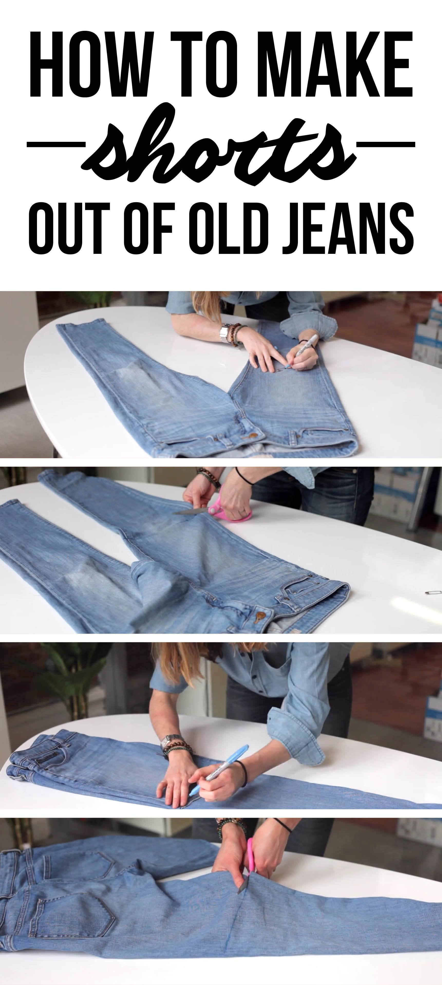 How to make fashionable shorts out of old jeans