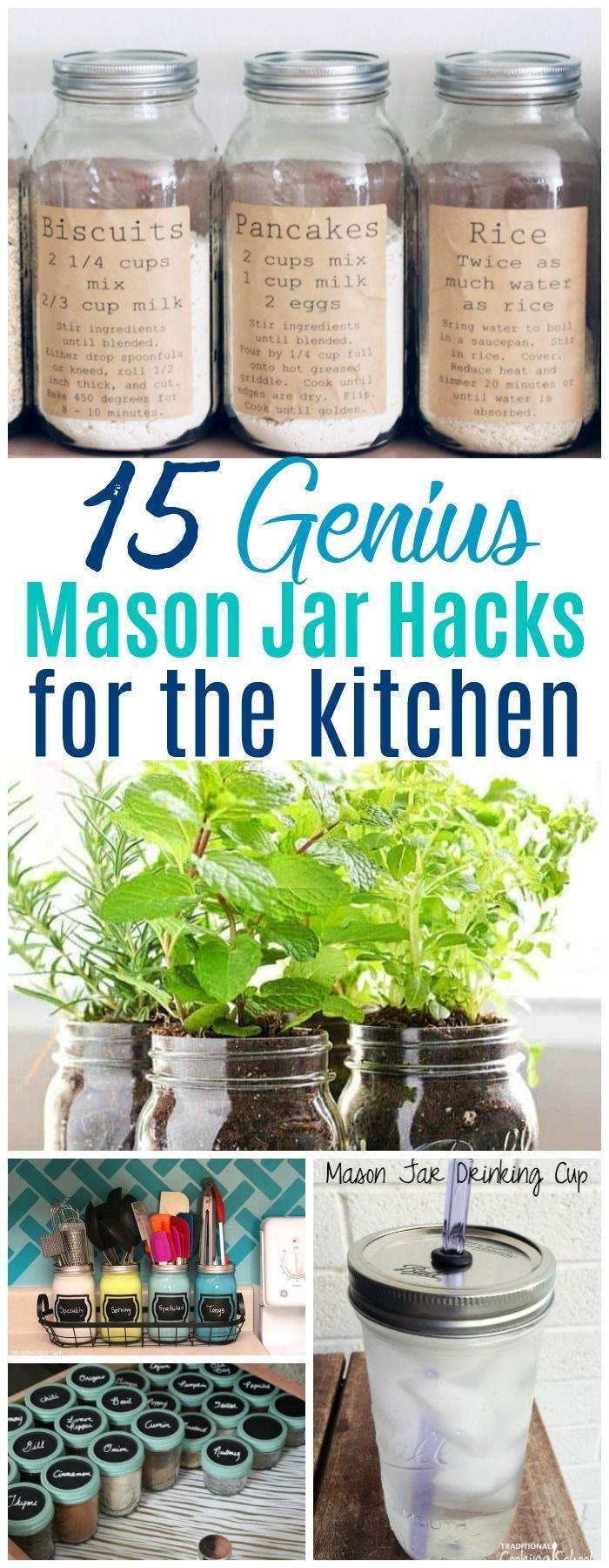 15 Creative Mason Jar Kitchen Storage Ideas #masonjardiy