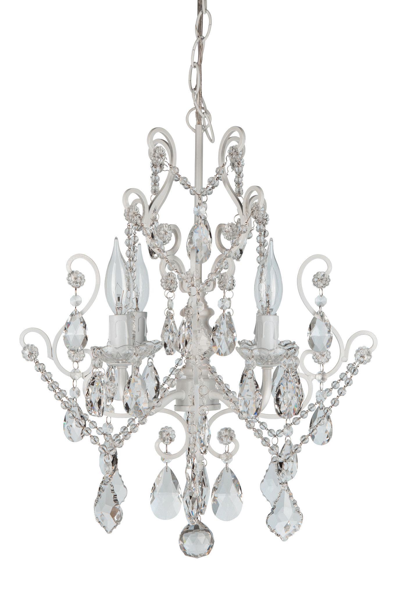 4 Light Vintage Crystal Plug In Chandelier White