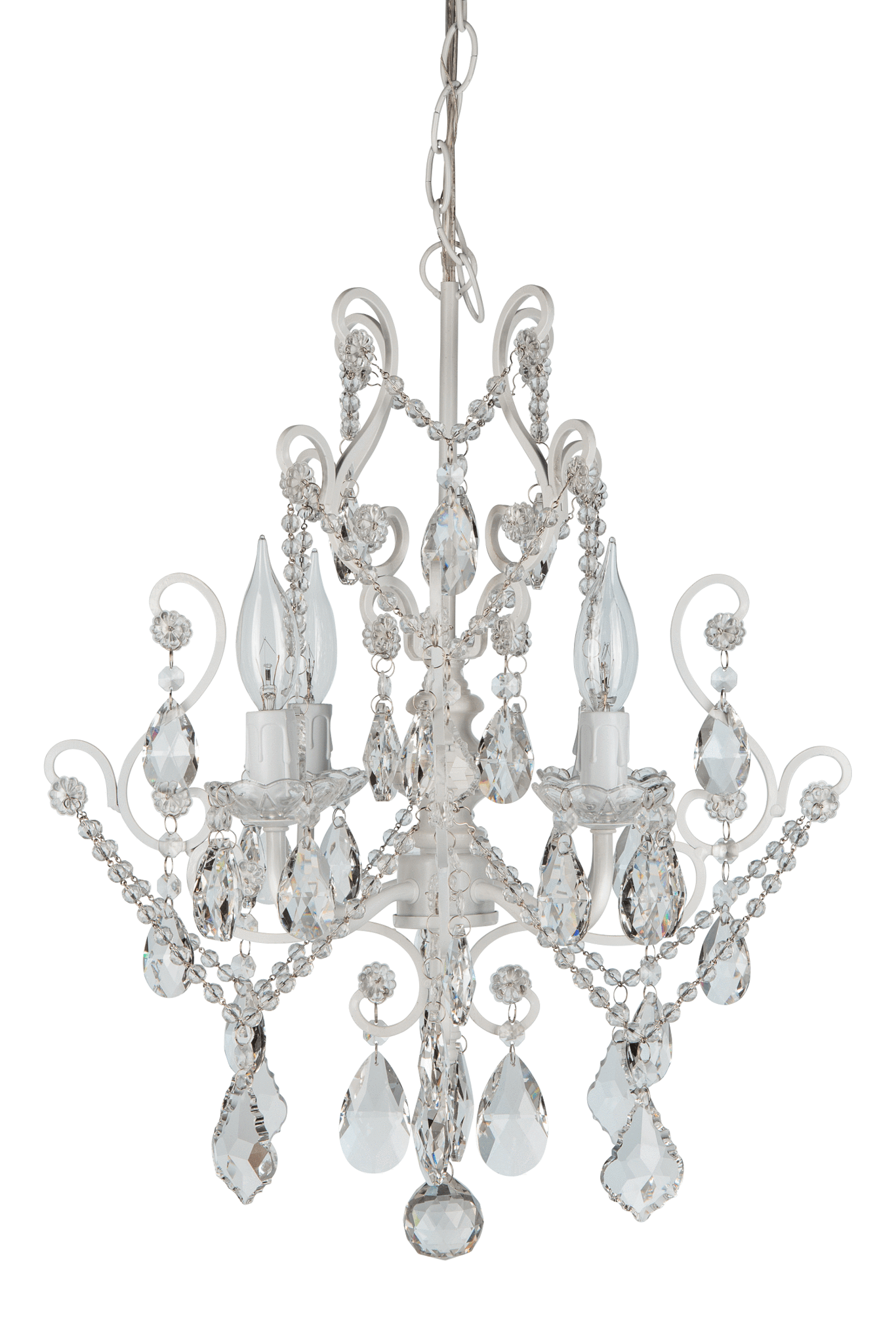 4 Light Vintage Crystal Plug In Chandelier White