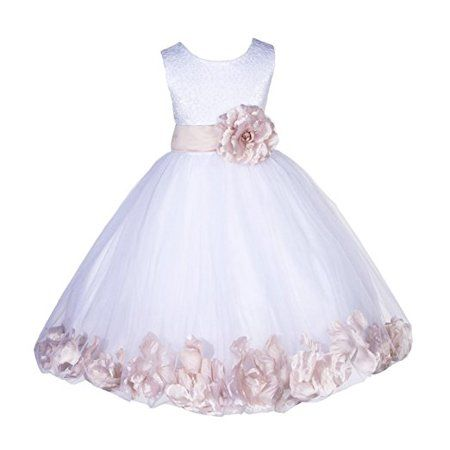 c8bdce95187 Ekidsbridal - Ekidsbridal White Lace Top Tulle Bodice Floral Petals Flower  Girl Dresses Formal Special Occasions Dresses Wedding Pageant Recital  Reception ...