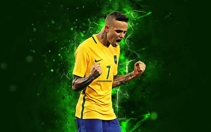 Download Wallpapers Luan Vieira Joy Brazil National Team Forward Football Soccer Luan Abstract Art Neon Lights Brazilian Football Team