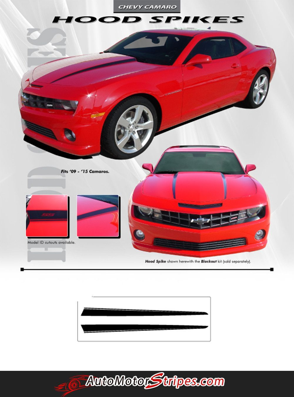 2010 2013 and 2014 2015 Chevy Camaro Hood Spears Vinyl Decal